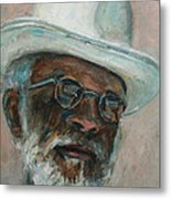Gray Beard Under White Hat Metal Print by Xueling Zou
