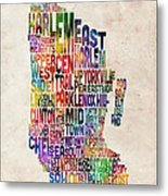 Manhattan New York Typographic Map Metal Print by Michael Tompsett