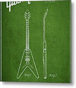 Mccarty Gibson Electric Guitar Patent Drawing From 1958 - Green Metal Print by Aged Pixel