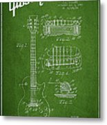 Mccarty Gibson Les Paul Guitar Patent Drawing From 1955 - Green Metal Print by Aged Pixel