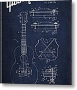 Mccarty Gibson Stringed Instrument Patent Drawing From 1969 - Navy Blue Metal Print by Aged Pixel