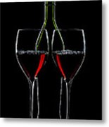 Red Wine Bottle And Wineglasses Silhouette Metal Print by Alex Sukonkin