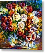 Roses And Wine Metal Print by Leonid Afremov