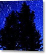 Star Trails In Night Sky Metal Print by Lane Erickson