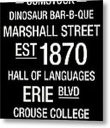 Syracuse College Town Wall Art Metal Print by Replay Photos