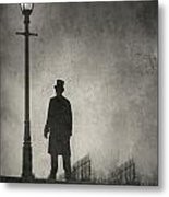 Victorian Man Standing Next To An Illuminated Gas Lamp Metal Print by Lee Avison