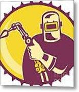 Welder Worker Welding Torch Retro Metal Print by Aloysius Patrimonio