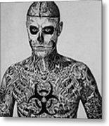 Zombie Boy Rick Genest Metal Print by Carlos Velasquez Art