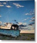 Abandoned Fishing Boat Digital Painting Metal Print by Matthew Gibson