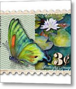 3 Cent Butterfly Stamp Metal Print by Amy Kirkpatrick