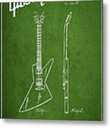 Mccarty Gibson Electrical Guitar Patent Drawing From 1958 - Green Metal Print by Aged Pixel