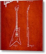 Mccarty Gibson Stringed Instrument Patent Drawing From 1958 - Red Metal Print by Aged Pixel