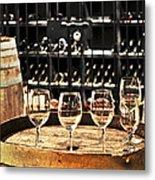 Wine Glasses And Barrels Metal Print by Elena Elisseeva