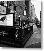 34th Street Entrance To Penn Station Subway New York City Usa Metal Print by Joe Fox