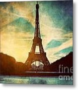 Eiffel Tower In Paris Fance In Retro Style Metal Print by Michal Bednarek