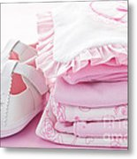 Pink Baby Clothes For Infant Girl Metal Print by Elena Elisseeva
