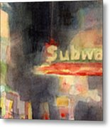 42nd Street Subway Watercolor Painting Of Nyc Metal Print by Beverly Brown Prints