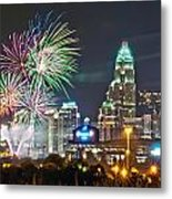4th Of July Firework Over Charlotte Skyline Metal Print by Alex Grichenko