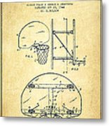 Vintage Basketball Goal Patent From 1944 Metal Print by Aged Pixel