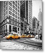 5th Avenue Yellow Cab Metal Print by John Farnan