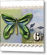 6 Cent Butterfly Stamp Metal Print by Amy Kirkpatrick