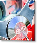 1960 Chevrolet Corvette Steering Wheel Emblem Metal Print by Jill Reger