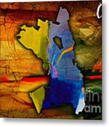 Oakland Map And Skyline Watercolor Metal Print by Marvin Blaine