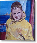 A Boy On A Boat Metal Print by Jack Skinner
