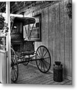 A Buggy On A Porch Bw Metal Print by Mel Steinhauer