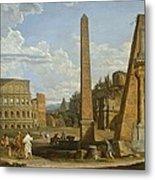 A Capriccio View Of Roman Ruins, 1737 Metal Print by Giovanni Paolo Pannini or Panini