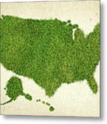 United State Grass Map Metal Print by Aged Pixel