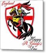 A Day For England Happy St George Day Retro Poster Metal Print by Aloysius Patrimonio