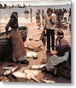 A Fish Sale On A Cornish Beach Metal Print by Stanhope Alexander Forbes