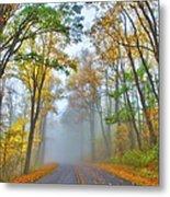 A Foggy Drive Into Autumn - Blue Ridge Parkway Metal Print by Dan Carmichael