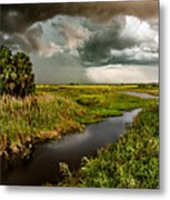 A Glow On The Marsh Metal Print by Christopher Holmes
