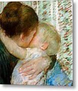 A Goodnight Hug  Metal Print by Mary Stevenson Cassatt