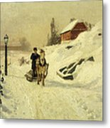 A Horse Drawn Sleigh In A Winter Landscape Metal Print by Fritz Thaulow