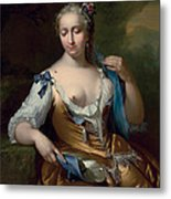 A Lady In A Landscape With A Fly On Her Shoulder Metal Print by Frans van der Mijn