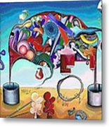 A Love Story/abstraction Of An Elephant Enhanced  Metal Print by George Curington
