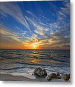 A Majestic Sunset At The Port Metal Print by Ron Shoshani
