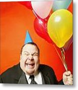 A Man With Balloons Metal Print by Darren Greenwood