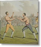 A Prize Fight Aquatinted By I Clark Metal Print by Henry Thomas Alken