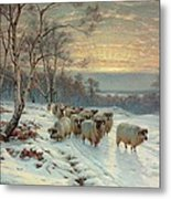 A Shepherd With His Flock In A Winter Landscape Metal Print by Wright Baker