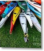 A Stack Of Kayaks Metal Print by Amy Cicconi