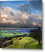 A Storm Over English Countryside With Dramatic Cloud Formations  Metal Print by Matthew Gibson