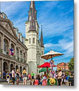 A Sunny Afternoon In Jackson Square Metal Print by Steve Harrington