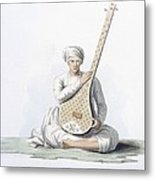A Tumboora, Musical Instrument Played Metal Print by Franz Balthazar Solvyns