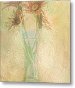 A Vase Of Gerbera Daisies In The Sun Metal Print by Diane Schuster