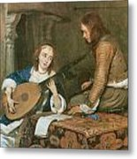 A Woman Playing The Theorbo-lute And A Cavalier Metal Print by Gerard Terborch