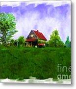Abandond Farm House Digital Paint Metal Print by Debbie Portwood